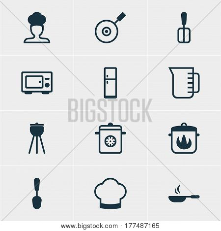 Vector Illustration Of 12 Kitchenware Icons. Editable Pack Of Refrigerator, Frying Pan, Cooking Spade And Other Elements.