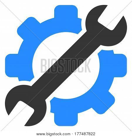 Setup Tools flat vector pictogram. Gray gear and blue wrench.