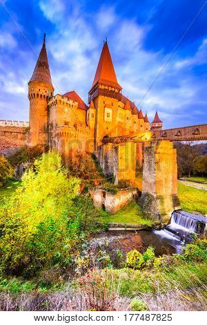 Beautiful panorama of the Corvin Castle with wooden bridge Hunedoara Transylvania Romania Europe.