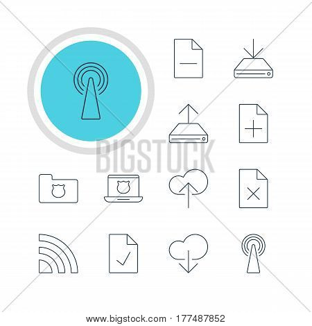 Vector Illustration Of 12 Network Icons. Editable Pack Of Secure Laptop, Information Load, Wireless Network And Other Elements.