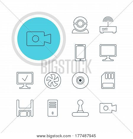 Vector Illustration Of 12 Notebook Icons. Editable Pack Of Cooler, Online Computer, Screen And Other Elements.