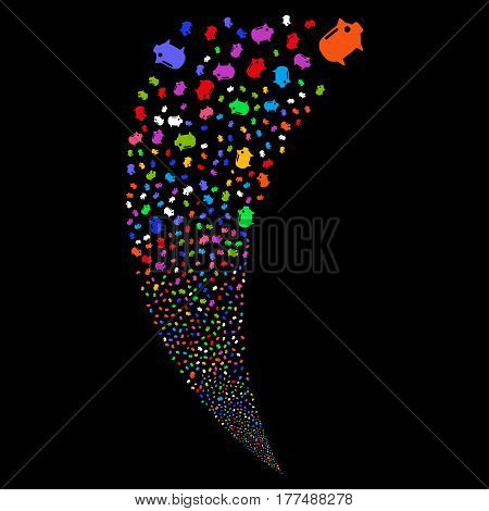 Piggy Bank random fireworks stream. Vector illustration style is flat bright multicolored iconic symbols on a black background. Object fountain organized from scattered pictograms.