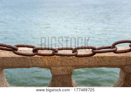 Chains and stone as background texture photo