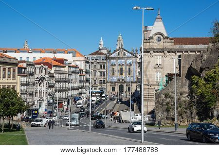 PORTO PORTUGAL - OCTOBER 21 2015: Church of Saint Antony of Congregados - Igreja de Santo Antonio dos Congregados built in 1703 and covered with typical Portuguese blue tiles called Azulejos Porto Portugal