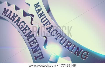 Manufacturing Management - Illustration with Lens Flare. Manufacturing Management on Mechanism of Metallic Cog Gears with Glow Effect - Communication Concept. 3D Render.