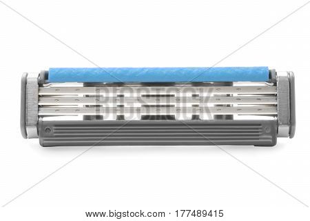 Disposable razor blade close up. Isolated on white clipping path included