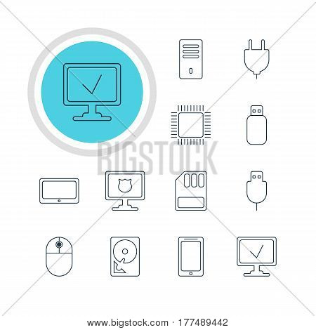 Vector Illustration Of 12 Computer Icons. Editable Pack Of Cursor Manipulator, Online Computer, Hard Drive Disk And Other Elements.