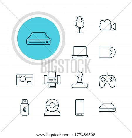 Vector Illustration Of 12 Accessory Icons. Editable Pack Of Photography, Video Chat, Computer And Other Elements.