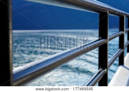 Close up of a railing on a ship
