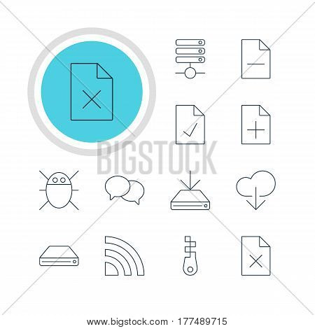 Vector Illustration Of 12 Network Icons. Editable Pack Of Removing File, Hard Drive Disk, Data Upload And Other Elements.