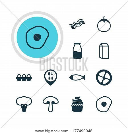 Vector Illustration Of 12 Cooking Icons. Editable Pack Of Eggplant, Milk, Ham And Other Elements.