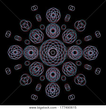 vector circles abstract sacred geometry decoration sign anaglif colored three-dimensional illustration black background .