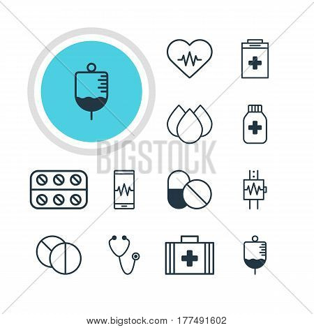 Vector Illustration Of 12 Medical Icons. Editable Pack Of Round Tablet, Trickle, Medical Bag And Other Elements.