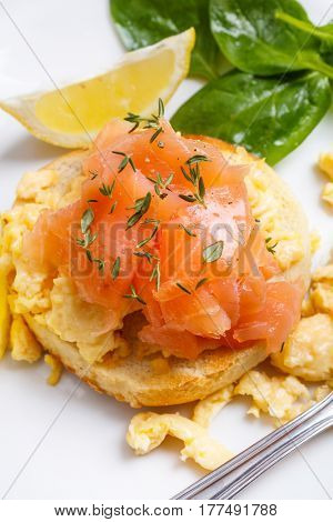 Healthy Scrambled Egg and Smoked Salmon  Sandwich on a Toasted Bun