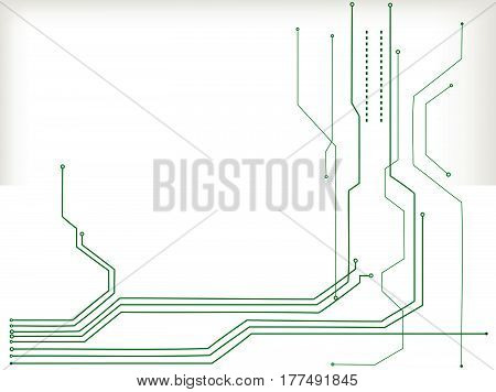 Vector green abstract tech background. Hi tech spacecraft motherboard and information transfer topic. Light effects are modern digital elements.