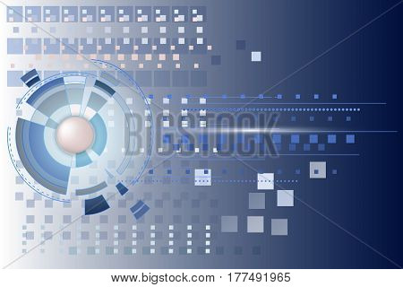 Vector technological abstract background with circular elements. The concept of high-tech networking and high-tech computer. Futuristic interface. Geometrical figures and models.