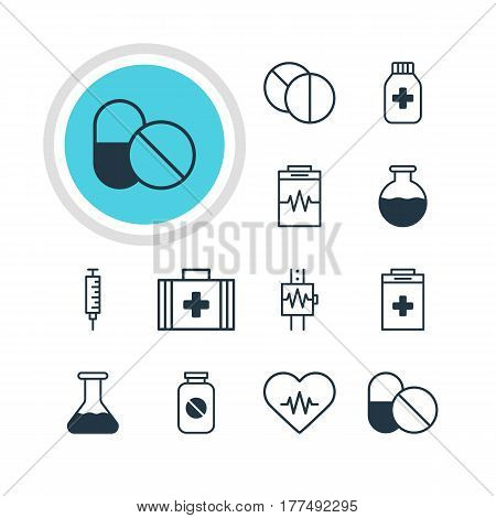 Vector Illustration Of 12 Medical Icons. Editable Pack Of Treatment, Vaccinator, Medicine Jar And Other Elements.