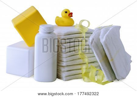 The diaper is isolated on a white background with children's toys
