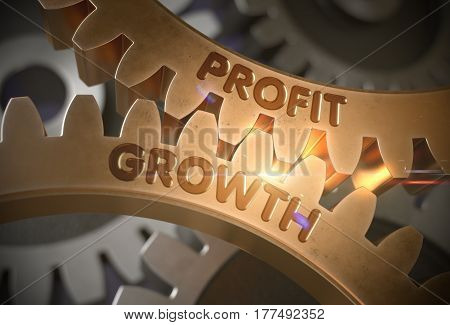 Profit Growth - Technical Design. Golden Metallic Cogwheels with Profit Growth Concept. 3D Rendering.