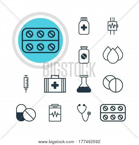 Vector Illustration Of 12 Medical Icons. Editable Pack Of Heartbeat, Round Tablet, Pills And Other Elements.