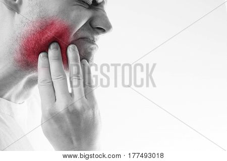 Toothache,  Medicine, Health Care Concept, Teeth Problem, Young Man  Suffering From Tooth Pain, Cari