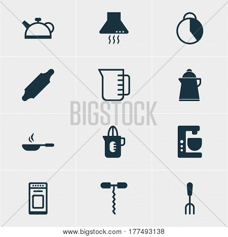 Vector Illustration Of 12 Kitchenware Icons. Editable Pack Of Extractor Appliance, Shaker, Carafe And Other Elements.