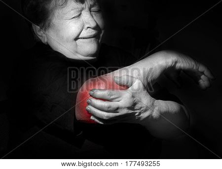 Grandmother, Old Woman Holding Her Arm, Shoulder, Elbow,  Pain, Distress, Health Problems, Sport Inj
