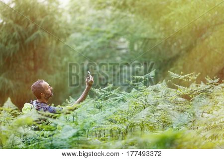 Hiker searching a mobile phone signal being lost in the lush forest lit by shiny golden sunlight. Active lifestyle modern life technological dependency and wilderness concept and copy space.