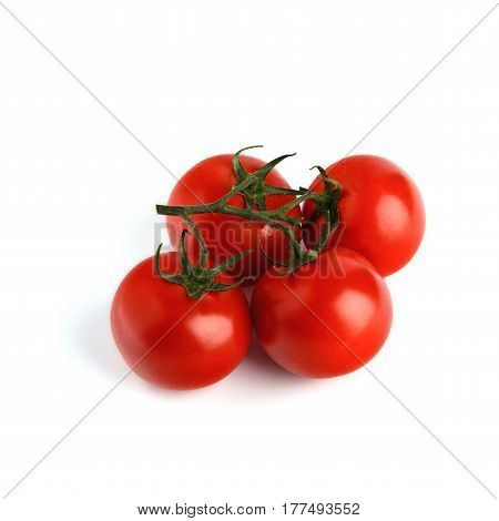 The branch of cherry tomatoes isolated on white background. Soft selective focus and shallow depth of field