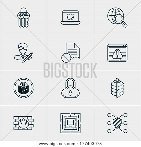 Vector Illustration Of 12 Privacy Icons. Editable Pack Of Key Collection, Data Security, Encoder And Other Elements.