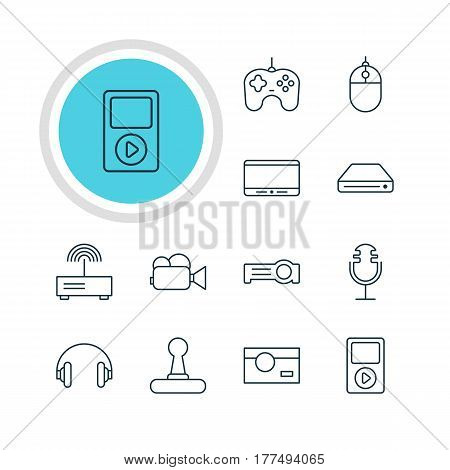 Vector Illustration Of 12 Gadget Icons. Editable Pack Of Media Controller, Sound Recording, Headset And Other Elements.
