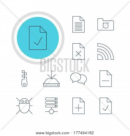 Vector Illustration Of 12 Network Icons. Editable Pack Of Document Adding, Removing File, Talking And Other Elements.