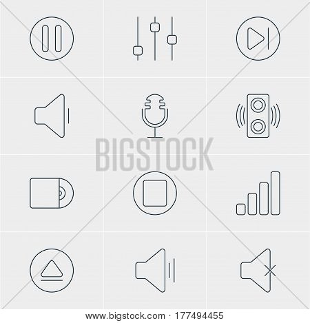 Vector Illustration Of 12 Melody Icons. Editable Pack Of Audio, Pause, Rewind And Other Elements.