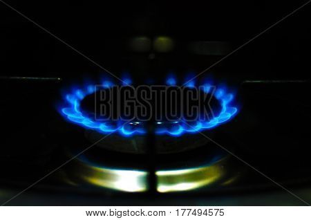 Flame Gas Of A Burning Stove In The Dark.