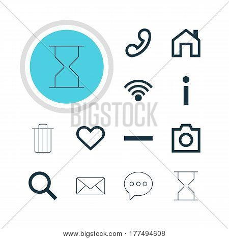 Vector Illustration Of 12 Interface Icons. Editable Pack Of Garbage, Snapshot , Handset Elements.
