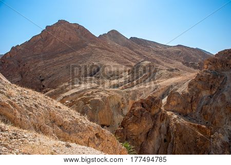 Mountains in the desert under the scorching sun
