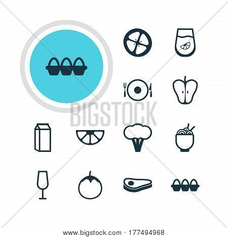 Vector Illustration Of 12 Cuisine Icons. Editable Pack Of Milk, Jonagold, Goblet And Other Elements.