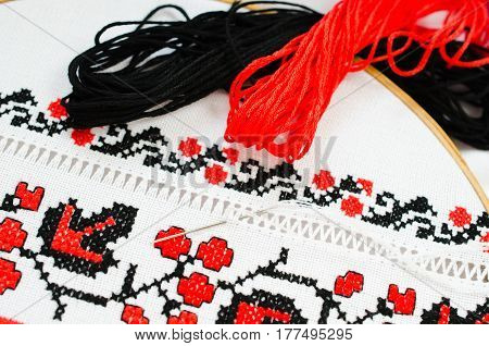 Slavic Cross Stitch by Red and Black Threads in the View of Viburnum. Ukrainian Folk Embroidery Pattern. Hemming.