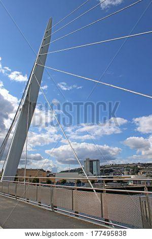 pedestrian suspension bridge in Swansea harbour, Wales