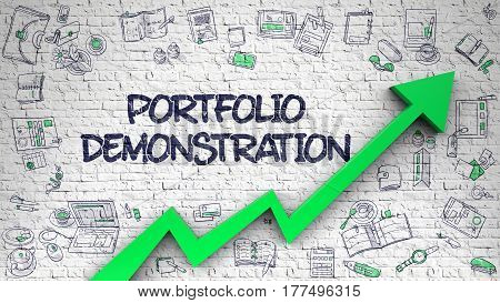 Portfolio Demonstration - Improvement Concept with Doodle Icons Around on White Brickwall Background. Portfolio Demonstration Drawn on White Wall. Illustration with Hand Drawn Icons. 3d.