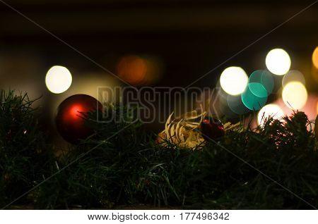 beautiful Christmas toy on the Christmas tree. burning flames