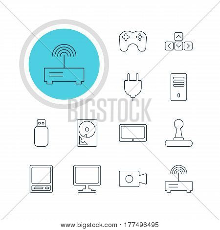 Vector Illustration Of 12 Laptop Icons. Editable Pack Of Game Controller, Flash Drive, Screen And Other Elements.