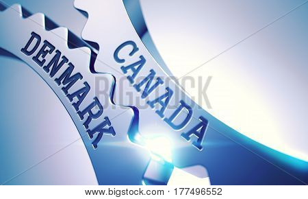 Canada Denmark on the Metal Gears, Communication Illustration with Lens Flare. Canada Denmark on Mechanism of Shiny Metal Cogwheels with Glow Effect and Lens Flare - Interaction Concept. 3D.