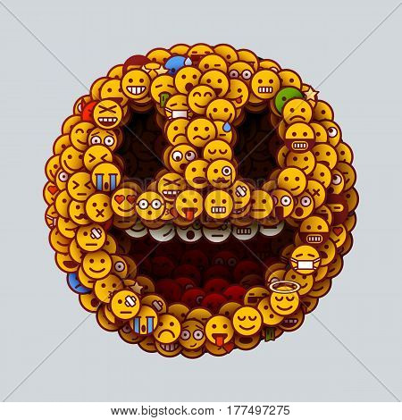 Smiley face made of many small smiles. Unusual and creative smile crowd concept. Vector illustration.