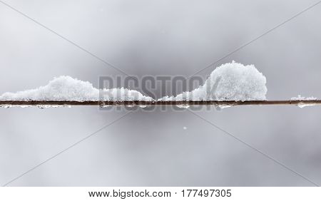 A Snow on the clothesline . A photo