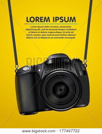 Hanging realistic photo camera. Professional photo studio banner. Vector illustration