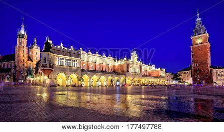 Panoramic View Of Krakow Old Town Main Square, Poland