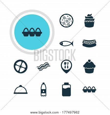 Vector Illustration Of 12 Cuisine Icons. Editable Pack Of Muffin, Drink Bottle, Lactose And Other Elements.