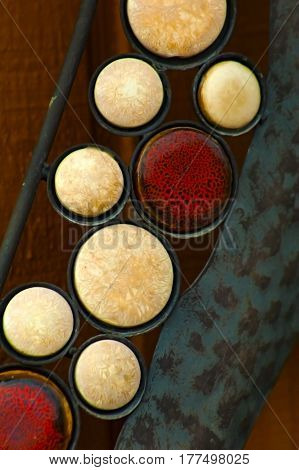 abstract circles vertical garden art hanging on shed