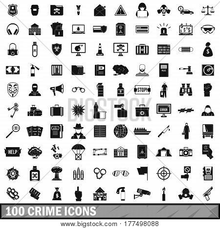 100 crime icons set in simple style for any design vector illustration